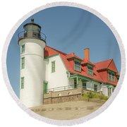 Sunlight On Point Betsie Lighthouse Round Beach Towel