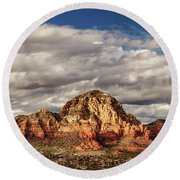Round Beach Towel featuring the photograph Sunlight On Sedona by James Eddy