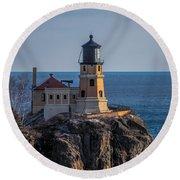 Sunlight On Split Rock Lighthouse Round Beach Towel