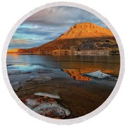 Sunlight On The Flatirons Reservoir Round Beach Towel