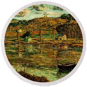 Sunlight On The Harlem River 1919 Round Beach Towel