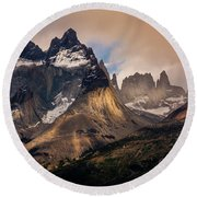 Sunlight On The Mountain Round Beach Towel by Andrew Matwijec