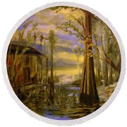 Sunlight On The Swamp Round Beach Towel