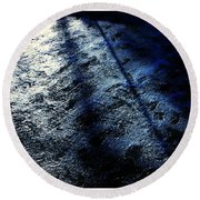 Sunlight Shadows On Ice - Abstract Round Beach Towel