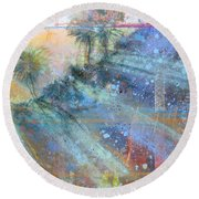 Round Beach Towel featuring the painting Sunlight Streaks by Andrew King
