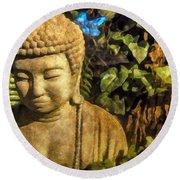 Sunlit Buddha 2015 Round Beach Towel
