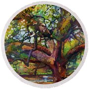 Sunlit Century Tree Round Beach Towel