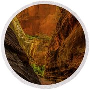 Sunlit Colors In The Slot Round Beach Towel