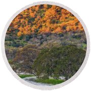 Sunlit Hillside And Frost Round Beach Towel