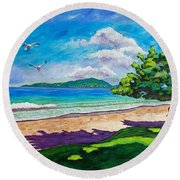 Sunlit Round Beach Towel