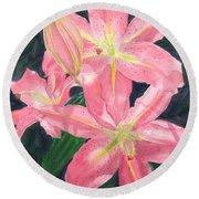 Sunlit Lilies Round Beach Towel