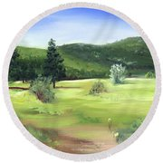 Round Beach Towel featuring the painting Sunlit Mountain Meadow by Jane Autry