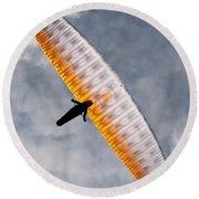 Sunlit Paraglider Round Beach Towel