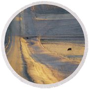 Sunlit Road Round Beach Towel
