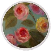 Sunlit Roses Round Beach Towel by Mary Wolf