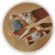 Sunlit Shells Round Beach Towel