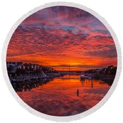 Sunlit Sky Over Morgan Creek -  Wild Dunes On The Isle Of Palms Round Beach Towel