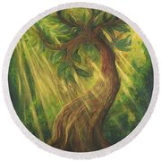 Sunlit Tree Round Beach Towel