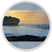Sunlit Waves - Kauai Dawn Round Beach Towel