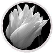 Sunlit White Tulips Round Beach Towel by Rona Black