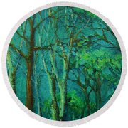 Sunlit Woodland Path Round Beach Towel
