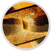 Sunlit Yellow Round Beach Towel