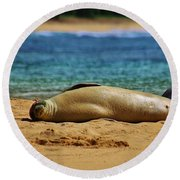 Sunning On The Beach In Hawaii Round Beach Towel