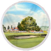 Round Beach Towel featuring the painting Sunningdale Golf Course 18th Green by Bill Holkham