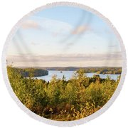 Sunny Autumn View At The Lake Hiidenvesi Round Beach Towel