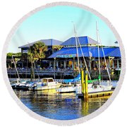 Round Beach Towel featuring the photograph Sunny Day At Mojo's by Shelia Kempf