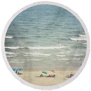 Sunny Day At North Myrtle Beach Round Beach Towel