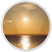 Sunny Day By The Oslo Fjords.  Round Beach Towel