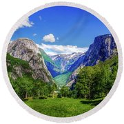 Sunny Day In Naroydalen Valley Round Beach Towel