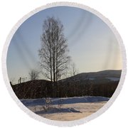 Sunny Day In Norway.  Round Beach Towel