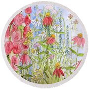 Round Beach Towel featuring the painting Sunny Days by Laurie Rohner