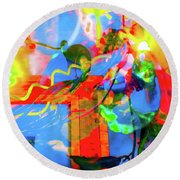 Round Beach Towel featuring the photograph Sunny Disposition by Adria Trail