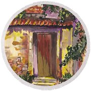 Round Beach Towel featuring the digital art Sunny Doorway by Darren Cannell
