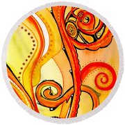 Round Beach Towel featuring the painting Sunny Flower - Art By Dora Hathazi Mendes by Dora Hathazi Mendes