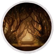 Sunny Morning In Dark Hedges Round Beach Towel