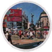 Sunny Piccadilly Round Beach Towel by Nop Briex