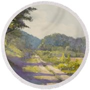 Sunny Road To The Forest Round Beach Towel