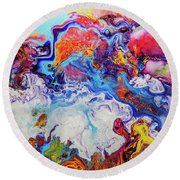Sunny Side Of The Street - Colorful Psychedelic Abstract Painting Round Beach Towel