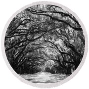 Sunny Southern Day - Black And White Round Beach Towel