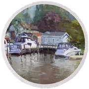 Sunny Sunday At The Canal Round Beach Towel