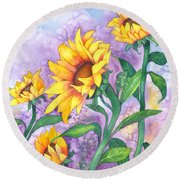 Round Beach Towel featuring the painting Sunny Sunflowers by Kristen Fox