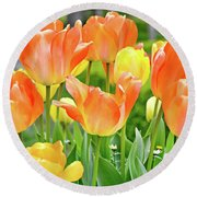 Round Beach Towel featuring the photograph Sunny Tulips by David Lawson