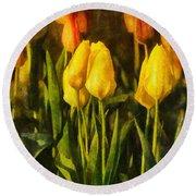 Sunny Tulips Round Beach Towel