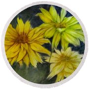 Sunny Yellow Round Beach Towel by Barbara O'Toole