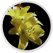 Sunny Yellow Lilies Round Beach Towel