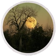 Round Beach Towel featuring the photograph November Supermoon  by Chris Berry
